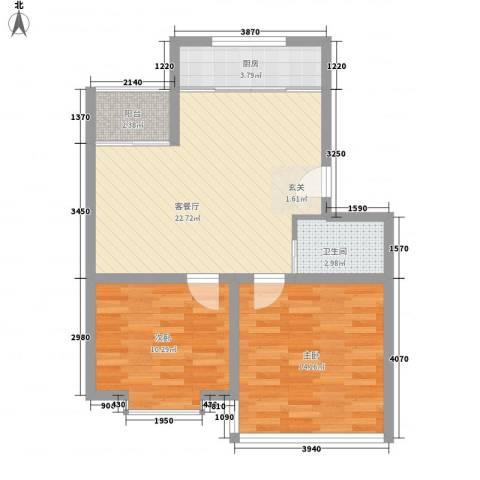 海韵苑2室1厅1卫1厨80.00㎡户型图