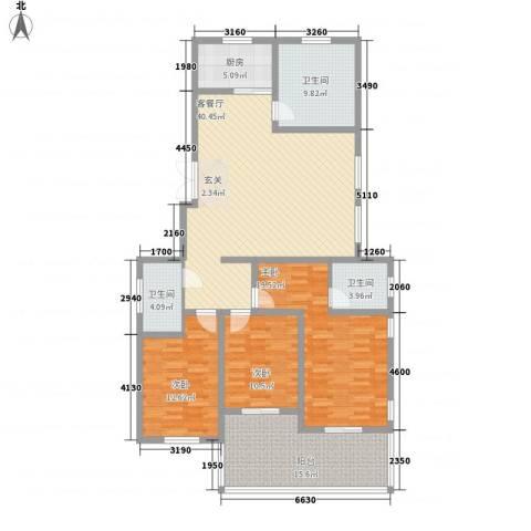 蓝柏湾3室1厅3卫1厨172.00㎡户型图