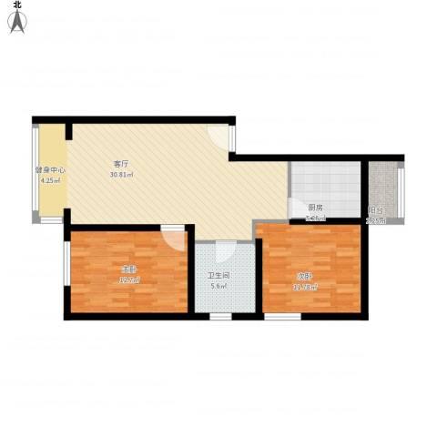 东皇先锋2室1厅1卫1厨97.00㎡户型图
