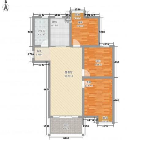 彩弘国际3室1厅1卫1厨113.00㎡户型图
