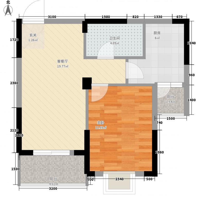 楚夏花园懒公馆6.35㎡1、2号楼B3户型1室2厅1卫1厨