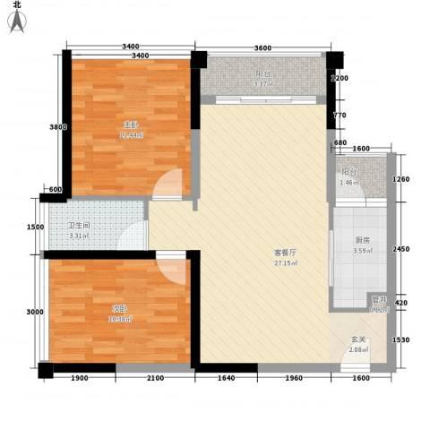 阳光山庄别墅2室1厅1卫1厨87.00㎡户型图