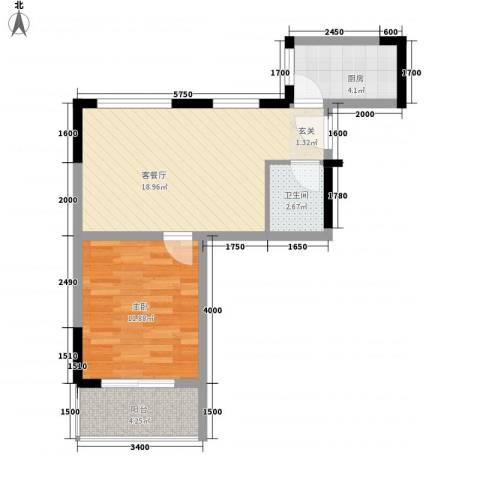 南滨花园1室1厅1卫1厨56.00㎡户型图