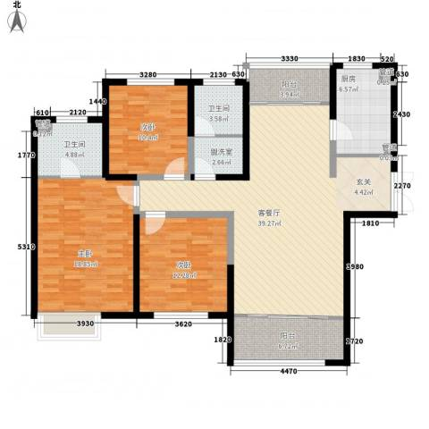 杏坛中心城3室2厅2卫1厨156.00㎡户型图
