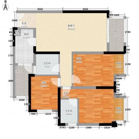 约克郡景悦3室1厅2卫1厨127.00㎡户型图