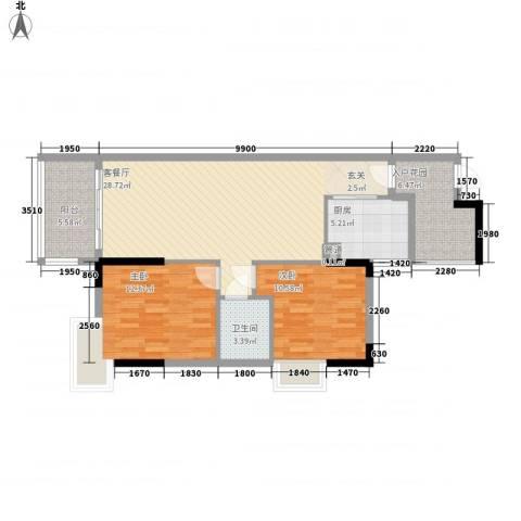 碧河四期水云天公馆2室1厅1卫1厨85.00㎡户型图