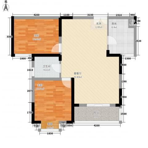 四季花都2室1厅1卫1厨103.00㎡户型图