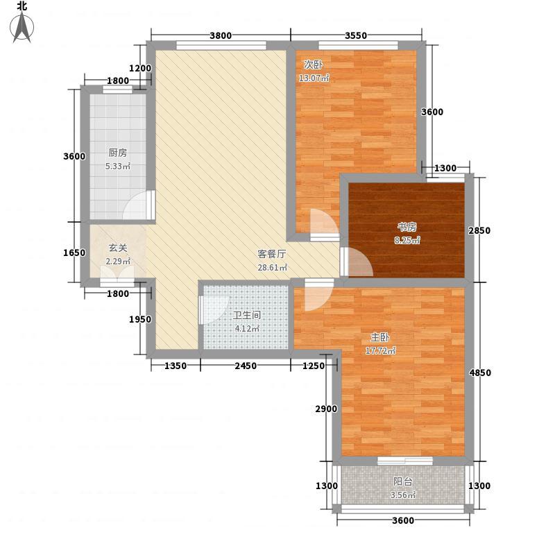 龙云香堤117.42㎡1#楼02户型3室2厅1卫1厨