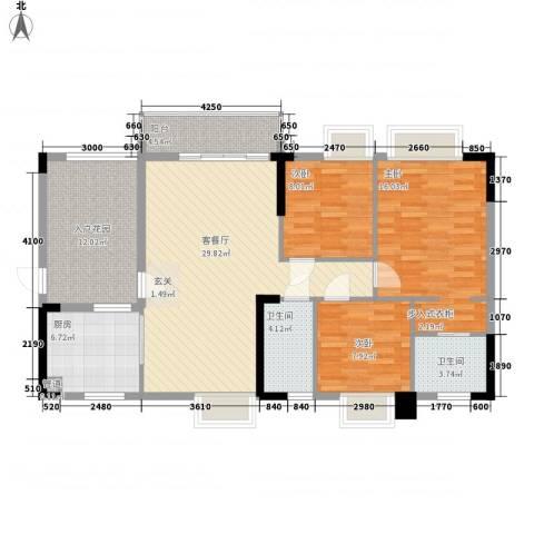 碧河四期水云天公馆3室1厅2卫1厨112.00㎡户型图