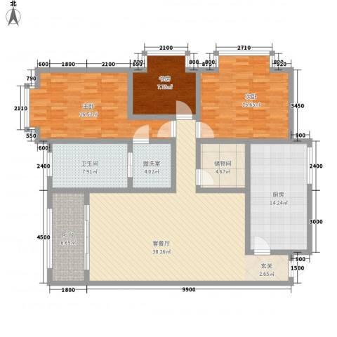 碧海云天3室2厅1卫1厨166.00㎡户型图