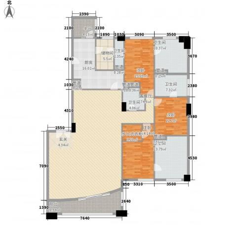 富国高银3室1厅5卫1厨272.00㎡户型图