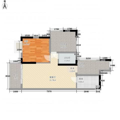 碧河四期水云天公馆1室1厅1卫1厨85.00㎡户型图
