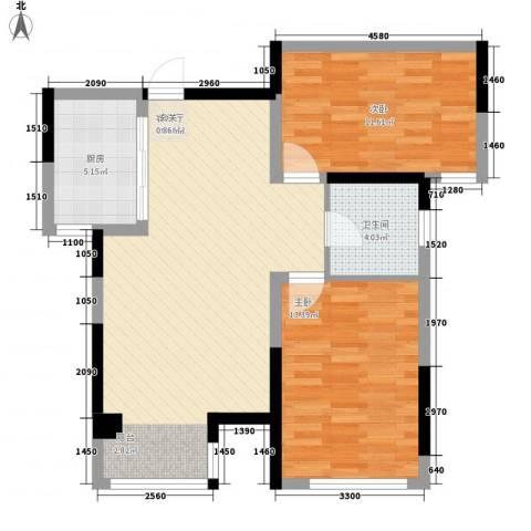 榕园嘉苑2室1厅1卫1厨89.00㎡户型图
