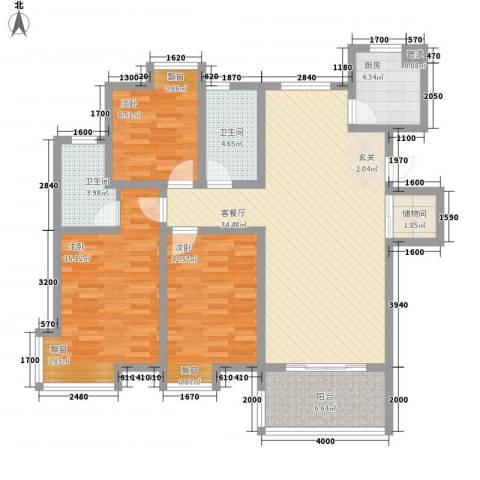 彩弘国际3室1厅2卫1厨135.00㎡户型图