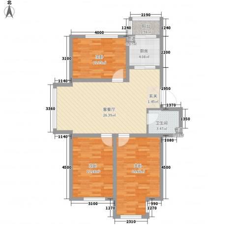 廊桥国际3室1厅1卫1厨97.00㎡户型图