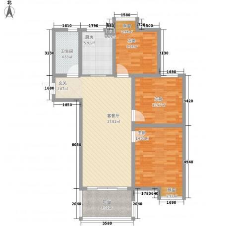 彩弘国际3室1厅1卫1厨112.00㎡户型图
