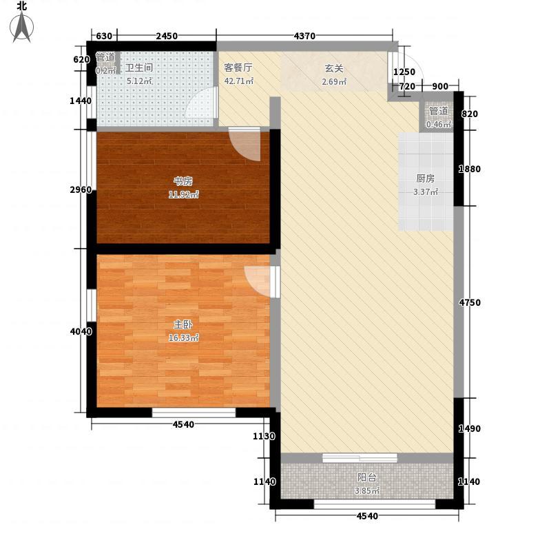 泛海城市广场V46公寓112.00㎡1、2号楼A户型2室2厅1卫