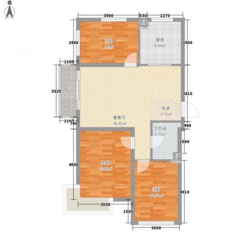 廊桥国际3室1厅1卫1厨103.00㎡户型图