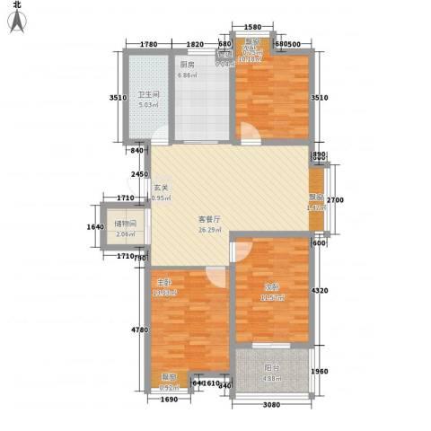 彩弘国际3室1厅1卫1厨115.00㎡户型图