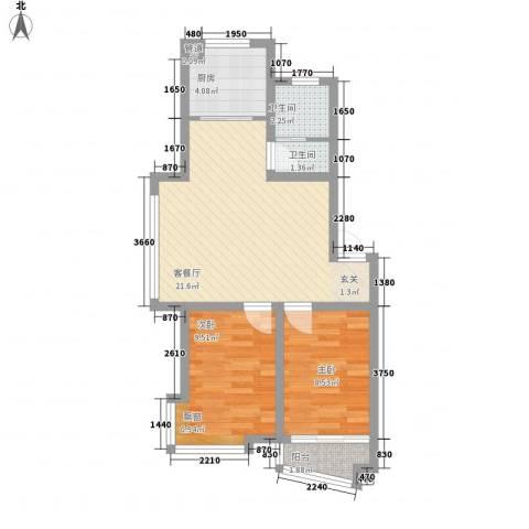 凤林工人新村2室1厅2卫1厨73.00㎡户型图