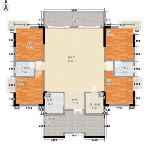 碧河四期水云天公馆4室1厅2卫1厨145.91㎡户型图