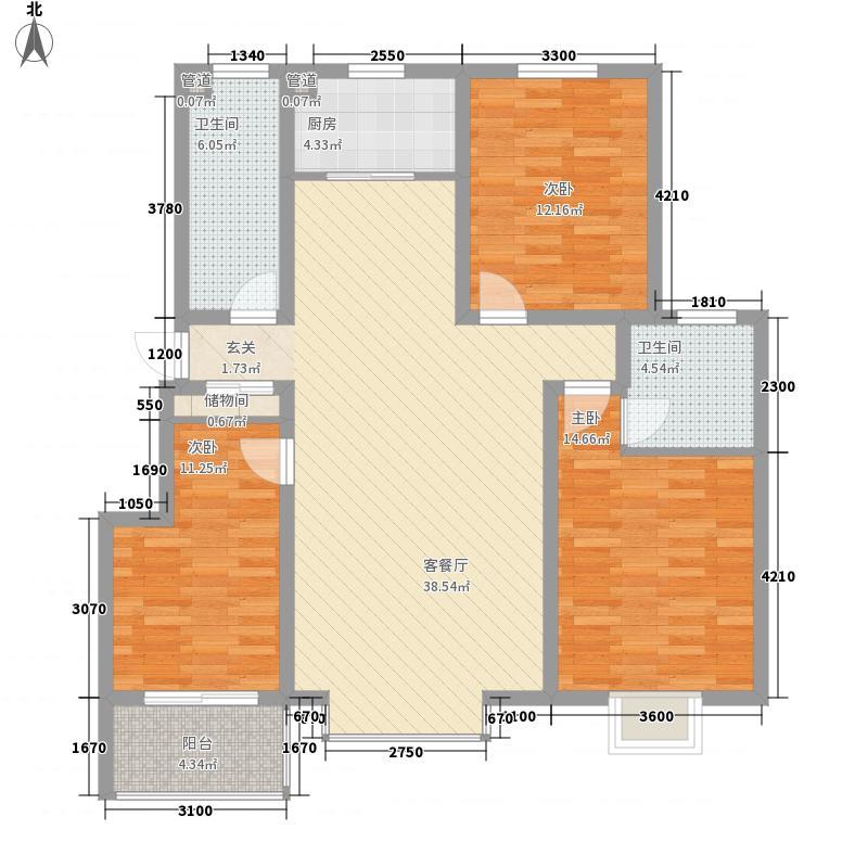 自在城126.00㎡16/17#标准层D户型3室2厅2卫1厨
