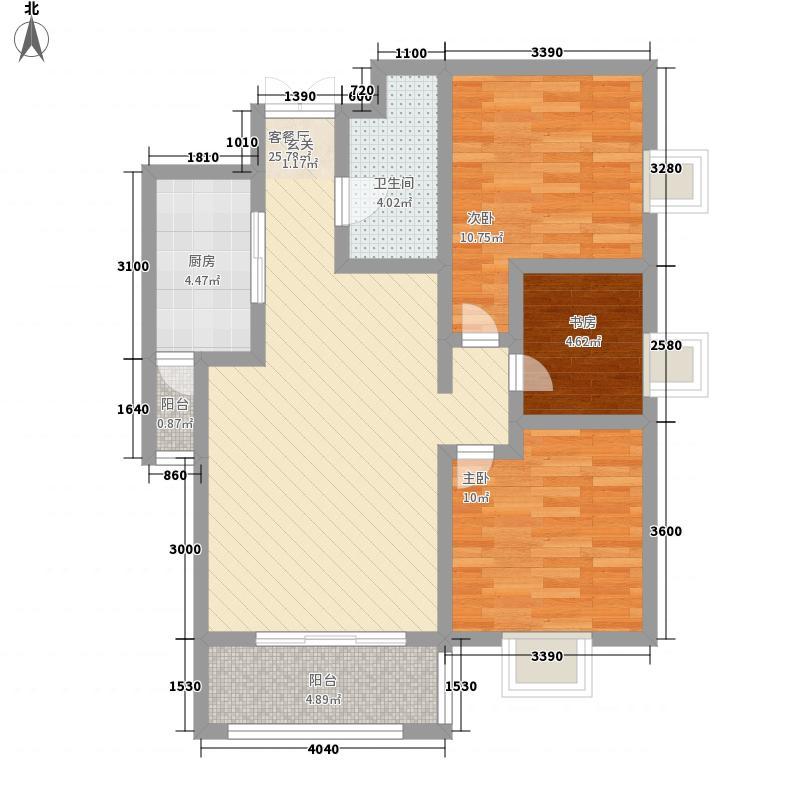 博名繁华里6.85㎡D1户型3室2厅1卫1厨