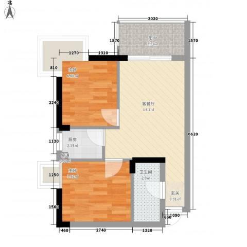 昌北财大宿舍2室1厅1卫1厨56.00㎡户型图