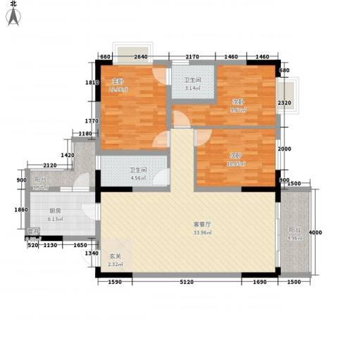 睿力凤凰城3室1厅2卫1厨127.00㎡户型图