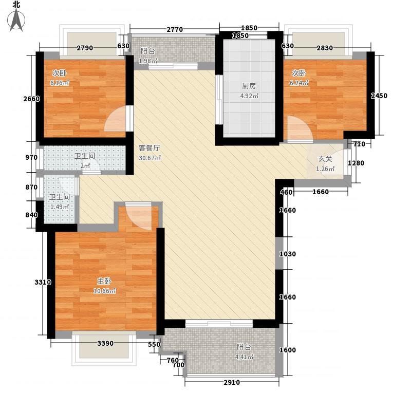 远洋心里3室1厅2卫1厨68.55㎡户型图