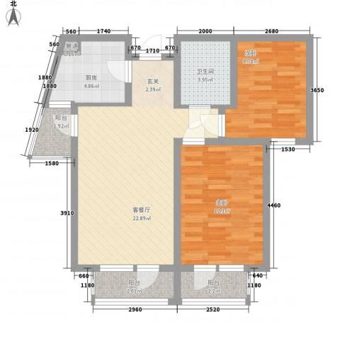 健康路2室1厅1卫1厨70.00㎡户型图