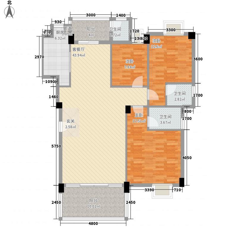 环城・尚�园122.41㎡8/9座04标准层户型3室2厅3卫1厨