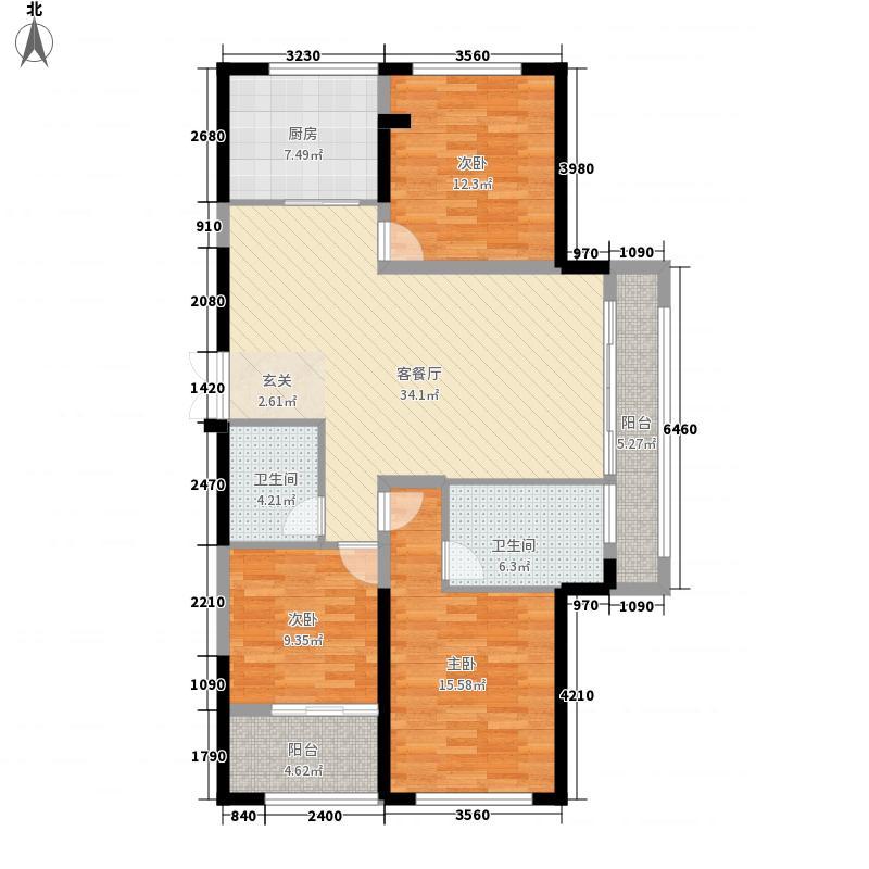 新湖・庐山国际141.00㎡高层G6-1户型3室2厅2卫