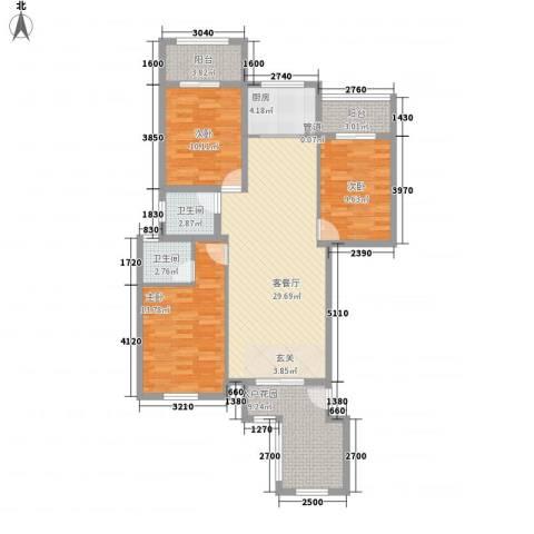 磐基花开富贵3室1厅2卫1厨128.00㎡户型图