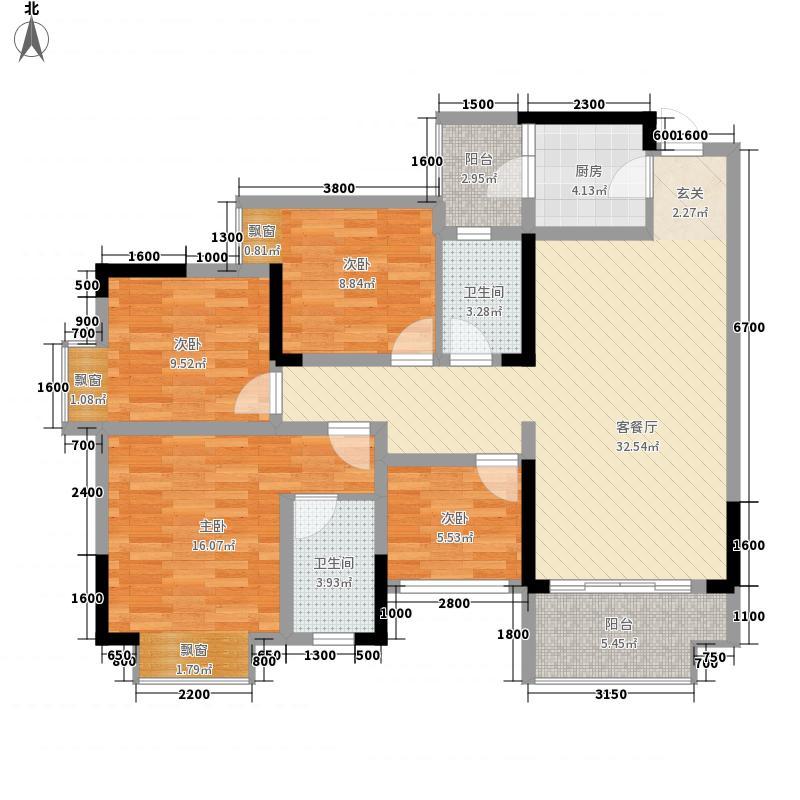 海志观月山水4.30㎡高层2号楼标准层2-5户型3室2厅2卫1厨