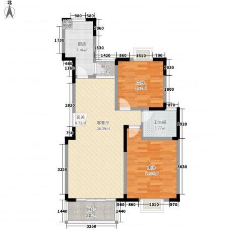 锦泽苑2室1厅1卫1厨89.00㎡户型图