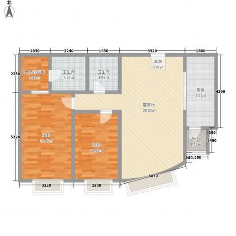 大雄城市花园一幅画卷2室1厅2卫1厨105.00㎡户型图