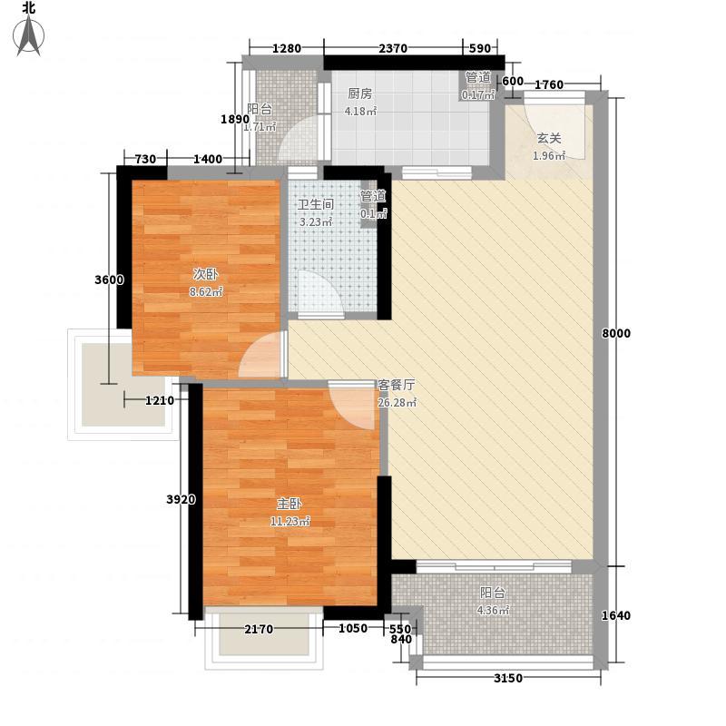 海伦湾77.58㎡江景洋房6栋标准层02户型2室2厅1卫1厨