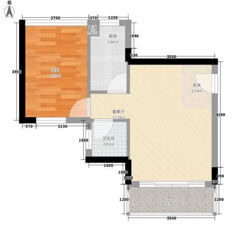 泰富御山郡1室1厅1卫1厨53.00㎡户型图