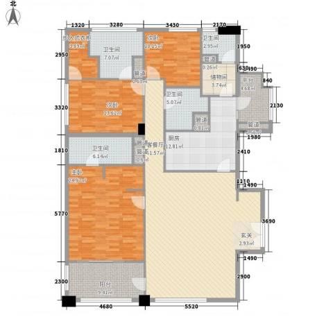 富国高银3室1厅4卫1厨221.00㎡户型图