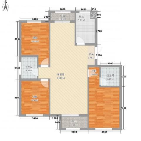 天房海天园3室1厅2卫1厨124.00㎡户型图