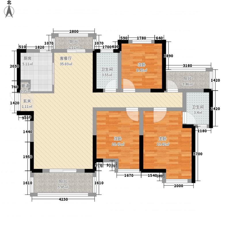 鸿发翰林府12.25㎡1号楼B-2户型3室2厅2卫1厨