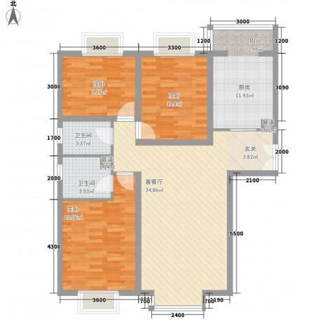 CBD总部公寓3室1厅2卫1厨128.00㎡户型图