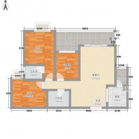 天佑山水国际3室1厅2卫1厨119.00㎡户型图