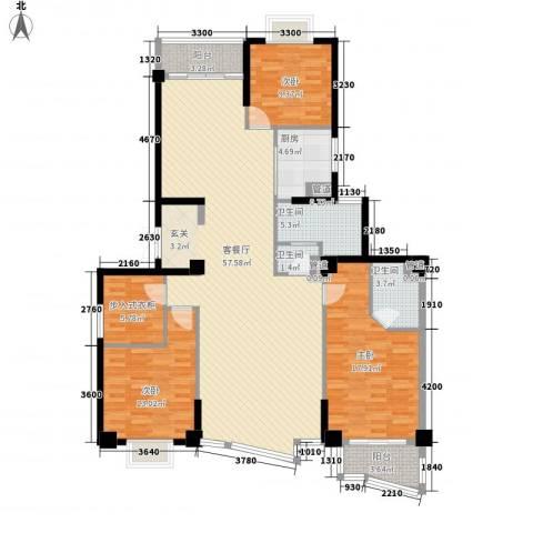 紫荆花园3室1厅3卫1厨170.00㎡户型图