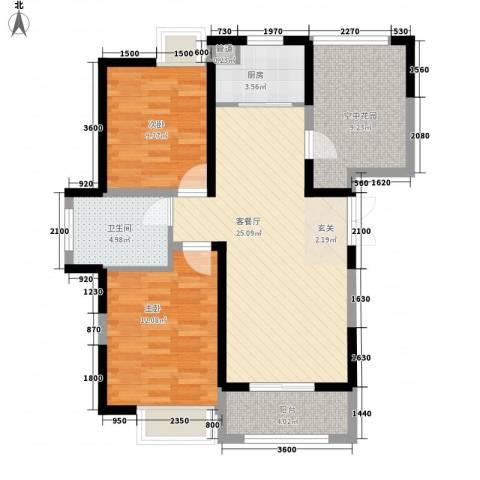 上城国际2室1厅1卫1厨99.00㎡户型图