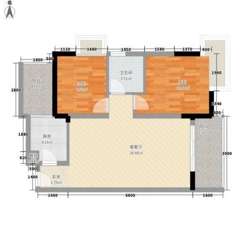 金色世纪逸城2室1厅1卫1厨66.00㎡户型图