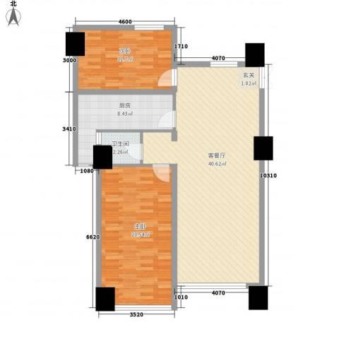 金府嘉苑2室1厅1卫1厨118.00㎡户型图
