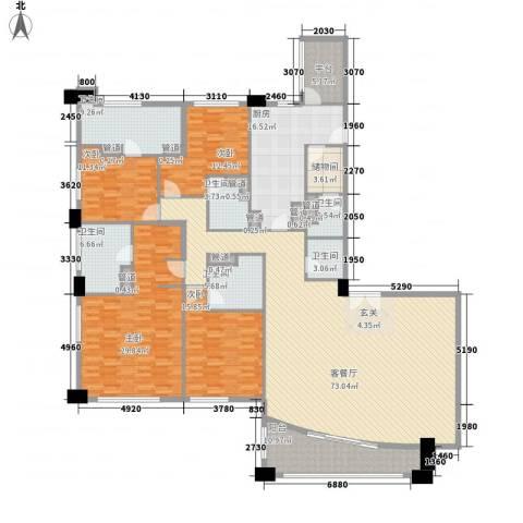 富国高银4室1厅6卫1厨296.00㎡户型图