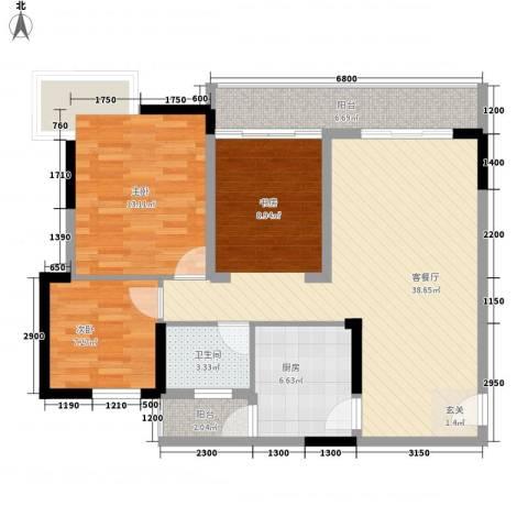 金色世纪逸城2室1厅1卫1厨78.00㎡户型图